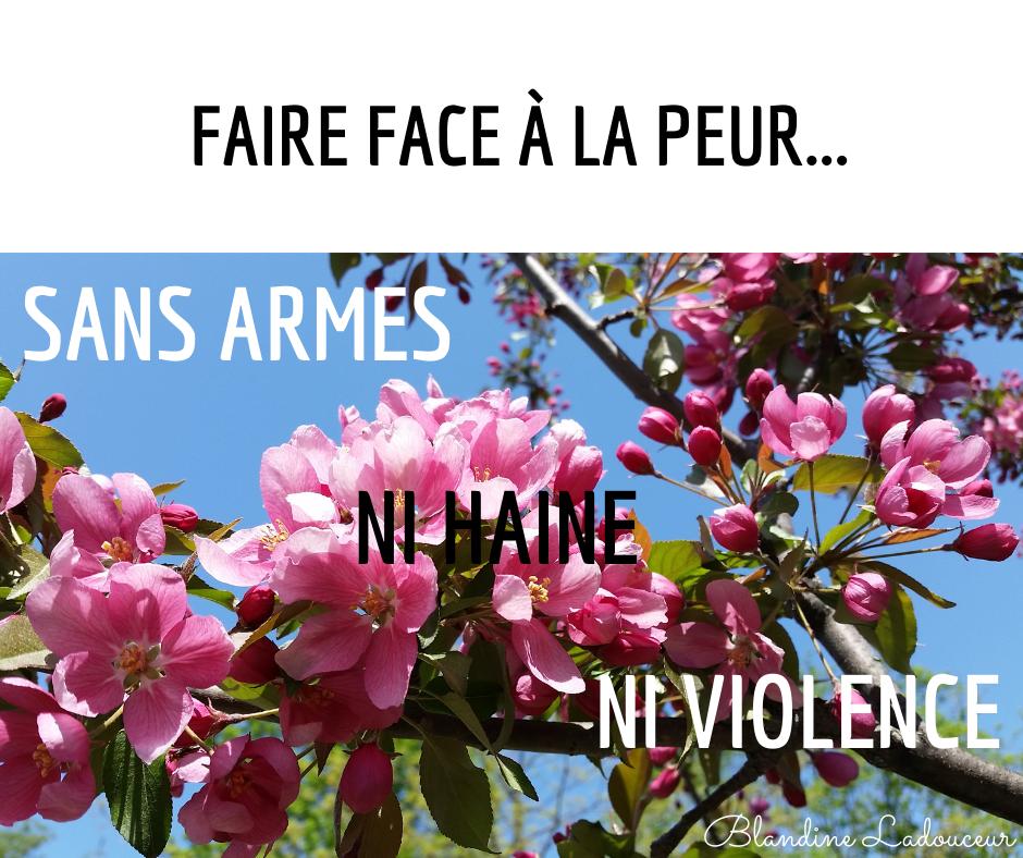 faire face a la peur sans armes ni haine ni violence
